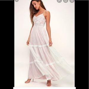 Lulu's white embroidered elenor maxi dress S